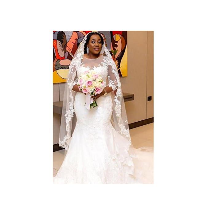 Chady Elegant Plus Size Mermaid Wedding Dress for Bride 2017 Lace Beading  3/4 Sleeve Mermaid Wedding Gowns White