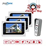 Jeatone Video Door phone Intercom System Wired 3 Indoor Monitor 1 Outdoor Camera For Apartment Office Villa 1200TVL Day/Night Vision