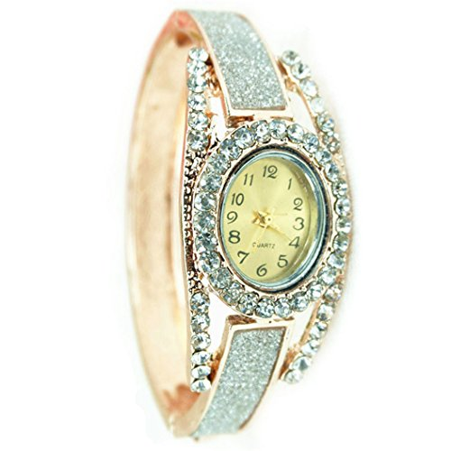 Elegant Womens Watch (Fashion Women's rose gold silver Analog Quartz Bracelet)