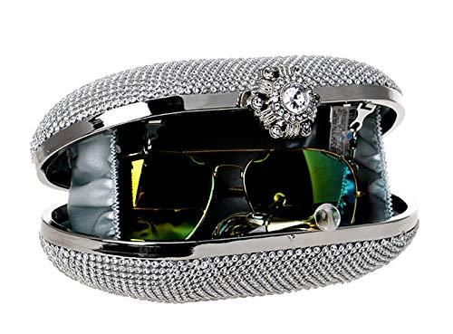 Desmontables La Silvery Tamaño Para Señoras Un Bolso Partido Banquete Diagonales Diamante 7x4x3inch 18x10x7cm Embragues Bodas Del Las El De Cena Dorado Hombro color 5nxHpUqfz