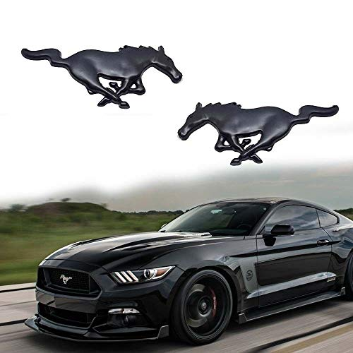 (2pcs Black Running Pony Horse Emblem Stickers For Ford Mustang Side Fender Trunk)