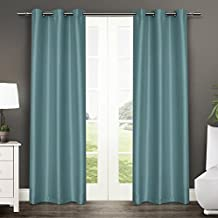 Exclusive Home EH7933-10 2-84G Antique Grommet Top Window Curtain Panels, Teal, Sold As Set of 2/Pair Panels 2-40-Inch x84-Inch