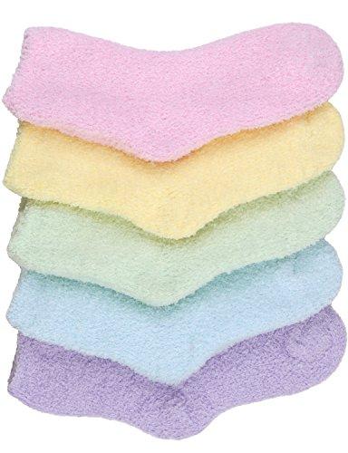 - HASLRA Pastel Solid Premium Soft Warm Microfiber Fuzzy Socks 5 Pairs (MIX4)