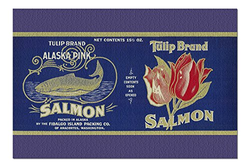Tulip Salmon Can Label (20x30 Premium 1000 Piece Jigsaw Puzzle, Made in ()