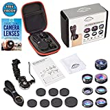 7 in 1 Clip On Camera Lens Kit By Ideal Lenz | Cell Phone Camera Kit For iPhone, Samsung Galaxy & Most Smartphones & Tablets | Telephoto, Fish Eye, Wide Angle, Macro, CPL, Kaleidoscope & X-Wide Lens