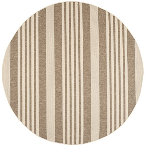 Safavieh Courtyard Collection CY6062-242 Brown and Bone Indoor/ Outdoor Round Area Rug (7'10