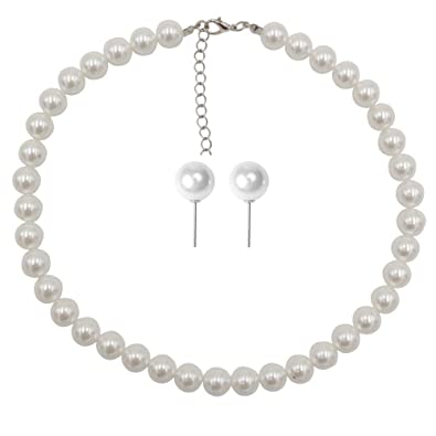 Amazoncom Femtindo Faux Pearl Necklace And Earring Set For Women