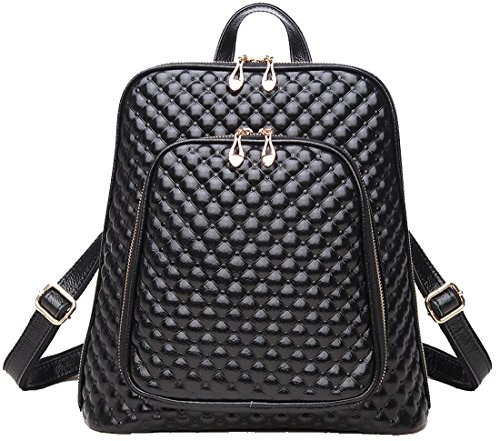 Coolcy New Fashion Women's Genuine Leather Backpack Casual Shoulder Bag (Black)