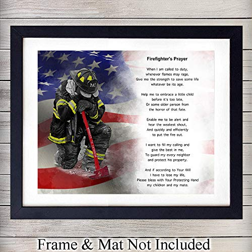 Firefighter's Prayer Wall Art Print - Perfect Gift For Firemen and First Responders - Great For Home Decor - Ready to Frame (8x10) Vintage Photo