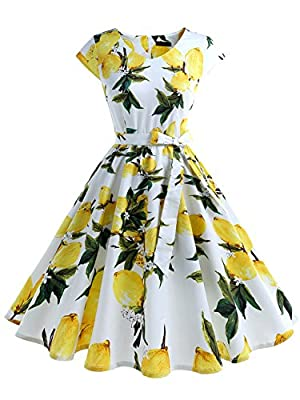 IVNIS Women's Vintage 1950s Floral Print Cap-Sleeve Rockabilly Prom Dresses with Pockets