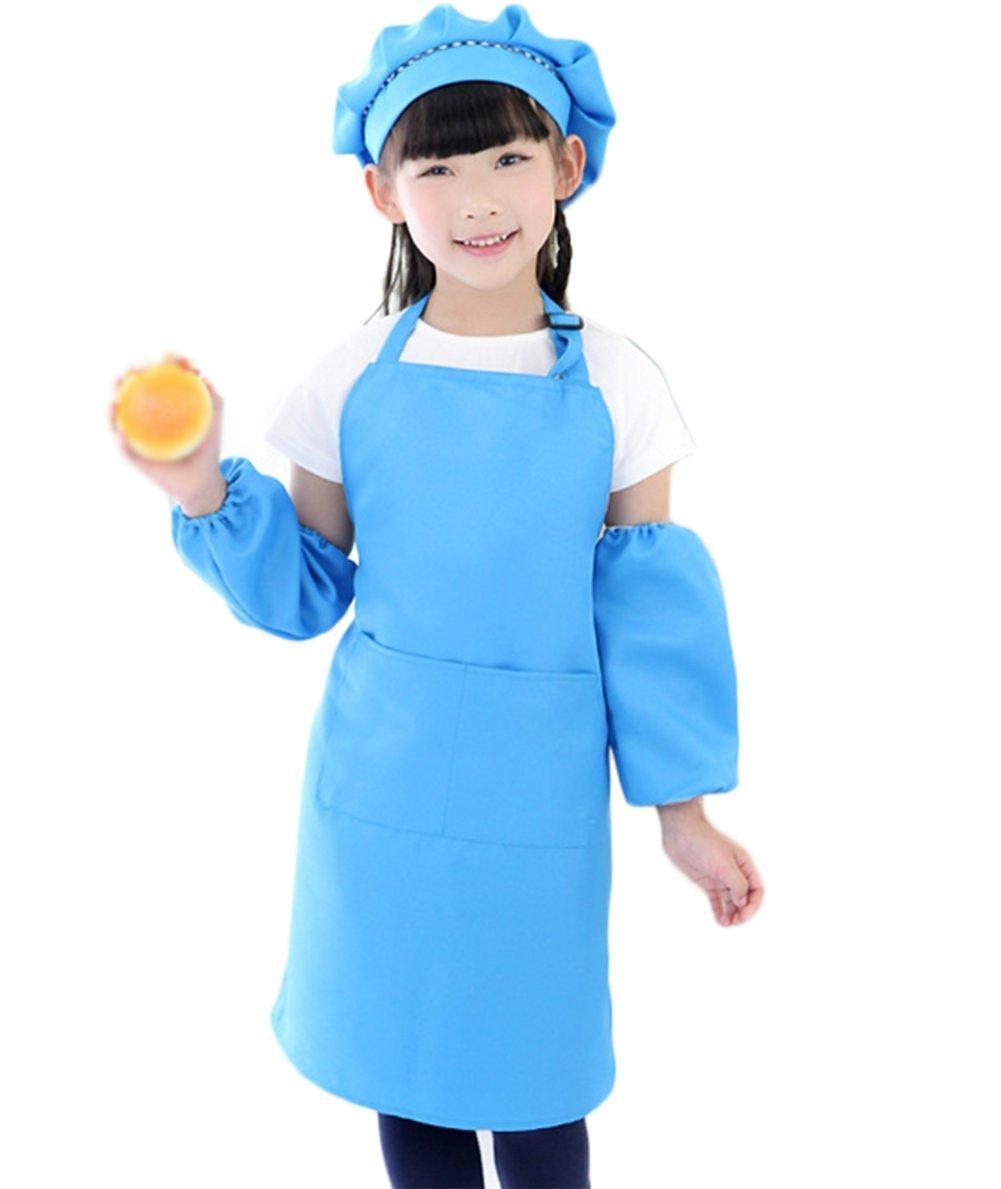 Cratone Professional Kinder wasserdichtes Anti-Öl Koch-Set Jungen Mädchen weich mit Tasche zum Malen Kochunterricht Kochschürze Kochmütze und Ärmel, Baumwolle, grün, 56 * 46cm