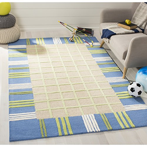 Safavieh Safavieh Kids Collection SFK320A Handmade Taupe and Blue Cotton Area Rug 3 x 5
