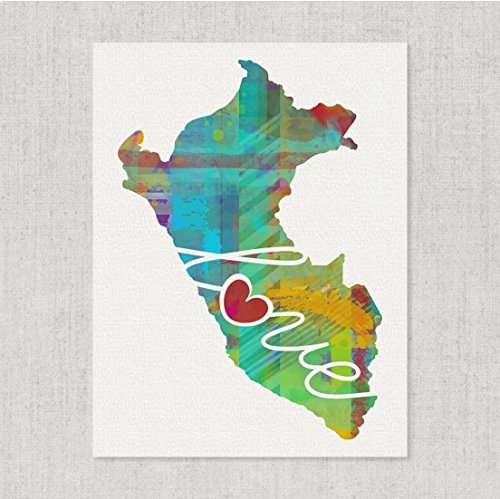 (Peru Love - Modern & Whimsical Watercolor-Style Wall Art Print/Poster on Fine Art Paper a Thoughtful Mission Work, Adoption, Vacation, Housewarming, Wedding or Home Country Gift)