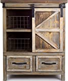 "Melrose 31.5""L X 39.5""H Country Rustic Wooden Storage Cabinet with Metal Basket"