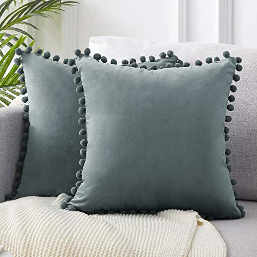 Top Finel Decorative Throw Pillow Cases Soft Particles Velvet Solid Cushion Covers 20 X 20 for Couch Bedroom Car, Pack of 2, Grey (Silver Cushions Grey)
