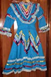 Girls Size X-Large Jalisco Turquoise Blue Dress Flow For Folkloric Dance Handmade New