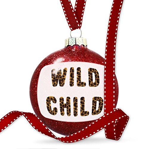 Christmas Decoration Wild Child Cheetah Cat Animal Print Ornament by NEONBLOND