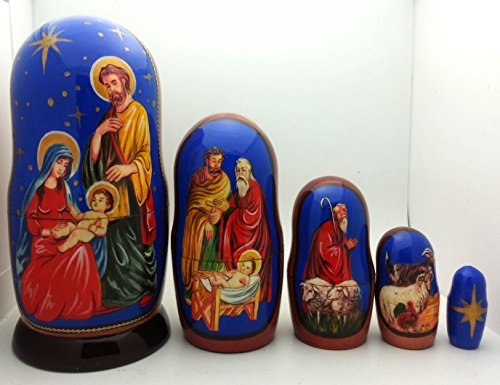 "Nativity Nesting Doll Hand Made in Russia 5 Piece 4"" tall Set"