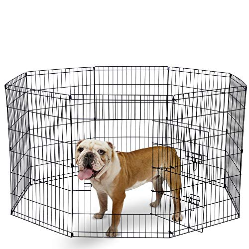 Dog Exercise Pen Pet Playpens for Large Dogs - Puppy Playpen Outdoor Back or Front Yard Fence Cage Fencing Doggie Rabbit Cats Playpens Outside Fences with Door - 36 Inch Metal Wire 8-Panel Foldable (Metal Fencing Yard)