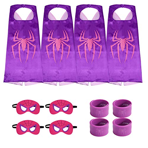 (Munfa Superheros Cape and Mask Costumes 4 Set Includes Bonus Matching Wristbands for Kids (Multicolored) (Multicolored) (Girl,)