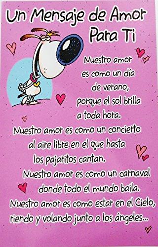Price comparison product image Un Mensaje de Amor Para Ti - Romantic Valentine's Day / San Valentin Greeting Card in Spanish (Husband Esposo Wife Esposa Boyfriend Novio Girlfriend Novia)