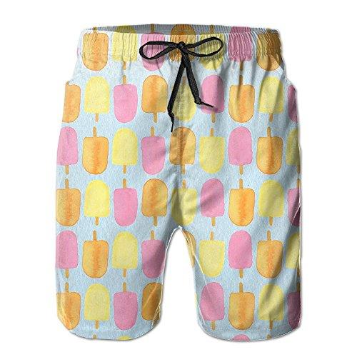 Sunshine Popsicles Men's Beach Shorts Elastic Waist Pockets Lightweight Swimming Board Short Quick Dry Short Trunks free shipping