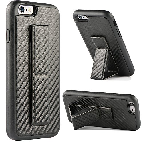 iPhone 6 Case, iPhone 6s Case, ZVEdeng Vertical and Horizontal Stand Hand Strap Reinforced Magnetic Kickstand Carbon Fiber Texture Finger Strap Protective Cover for Apple iPhone 6/6s 4.7 Black