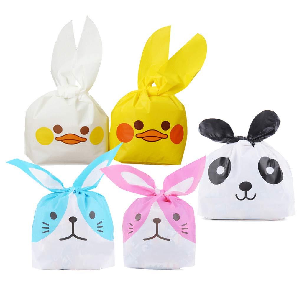 Ecosin Practical 10PCS Multifunction Cookie Bag Cartoon Cute Bunny Muster Candy Halter Bag (K)