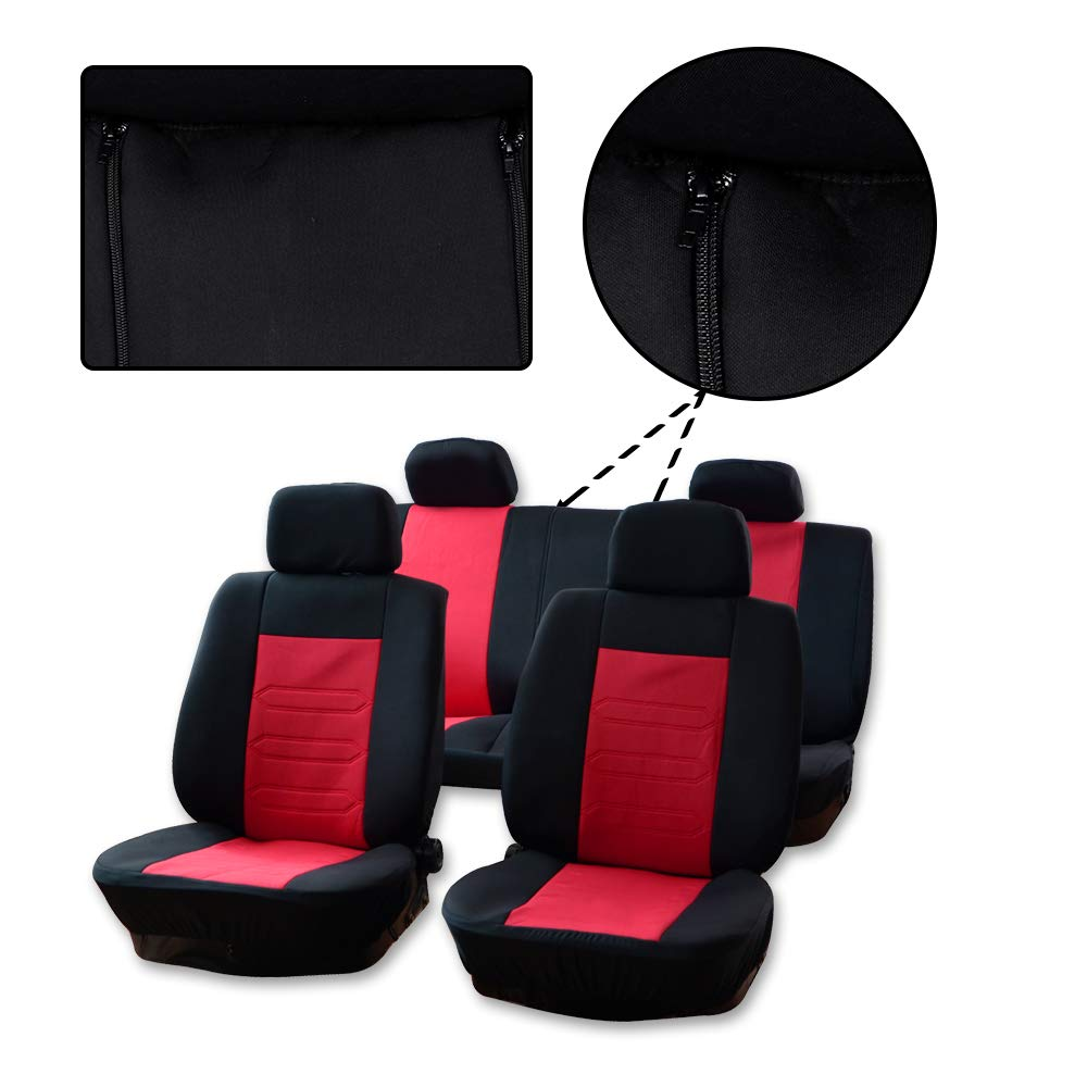 Black//Red LUJUNTEC Universal Seat Cover Full Set Breathable Auto Seat Cover w//Headrest Cover Replacement fit for Most Cars