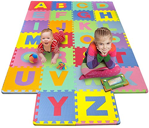 Matney Foam Mat of Alphabet Puzzle Pieces– Great for Kids to Learn and Play – Interlocking Puzzle Pieces - Alphabet Puzzle Mat