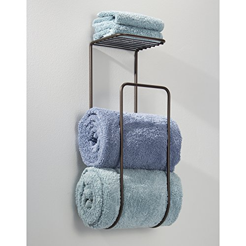 Rolled Towels In Bathroom: MDesign Wall Mount Towel Holder With Shelf For Bathroom