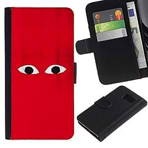 Planetar® Modelo colorido cuero carpeta tirón caso cubierta piel Holster Funda protección Para Samsung Galaxy S6 / SM-G920 ( Red Character Cartoon Minimalist Monster )