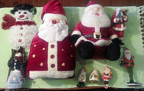Lot of 9 CHRISTMAS Decorations Santas and Snowmen