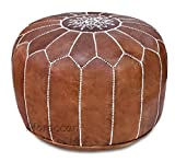 14 Inch High Ottoman Stuffed Handmade Genuine Leather Moroccan Pouf, Ottoman (Tan)