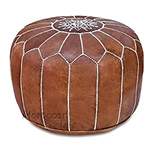 Stuffed Handmade Genuine Leather Moroccan Pouf, Ottoman (Tan)