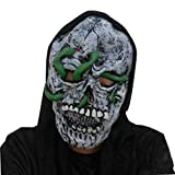 Gotd Latex Creepy Scary Terrorist Face Mask Halloween Scary Mask Props Decorations Decor for Adult Womens Mens (C)