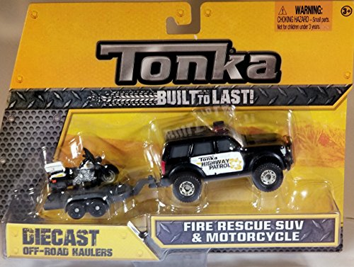 Tonka Diecast Metals - Highway Patrol Pick-Up and Motorcycle021664073308 with Trailer - 1:64 scale vehicle