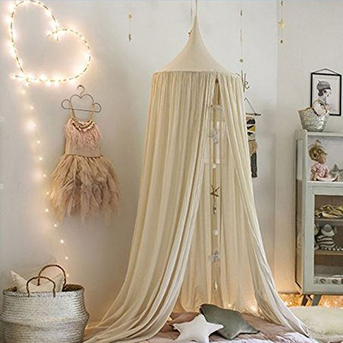 Lowest Price! Mosquito Net Canopy,Dome Princess Bed Cotton Cloth Tents Childrens Room Decorate for B...