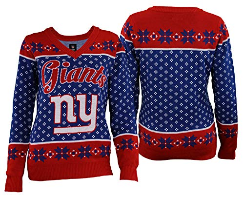 Forever Collectibles New York Giants 2016 Big Logo V-Neck Sweater - Womens Small