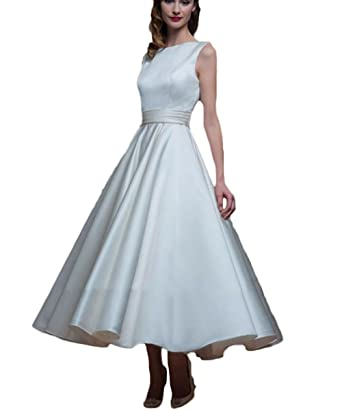 TF Dress A Line Beach Wedding Gowns Stain Ankle Length Formal Women Prom 2