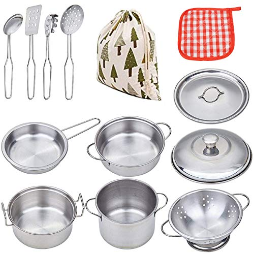 VIPAMZ My First Play Kitchen Toys Pretend Cooking Toy Cookware Playset for Kids 11-Pieces Stainless Steel Pots and Pans with Cooking Utensils -Dishwasher -
