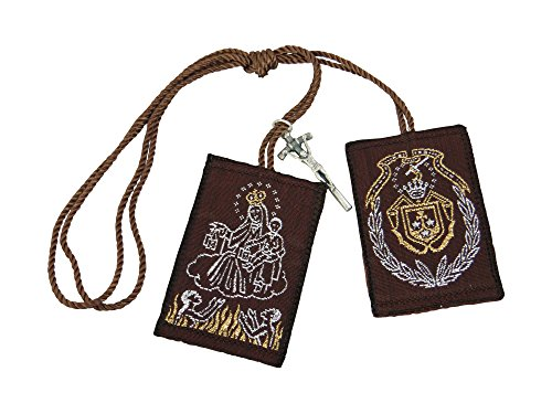 Our Lady of Mount Carmel Big Scapular with Cross Charm Escapulario Café de la Virgen del Carmen con Cruz