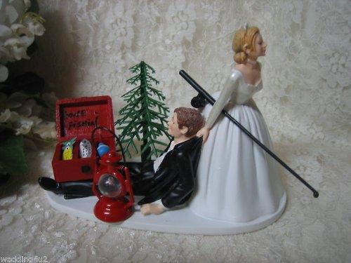 Gone Fishing Wedding Cake Topper (Wedding Gone Fishing Redneck bride groom Cake Topper)