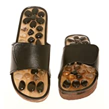Deluxe Comfort AU-TV-H0789-7blk Massage Slipper, Stone Reflexology, Size 7, Black