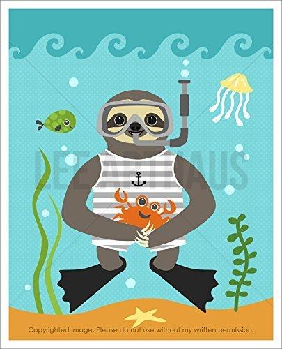 9J - Sloth Snorkeling In The Sea Unframed Wall Art Print By Lee Arthaus -