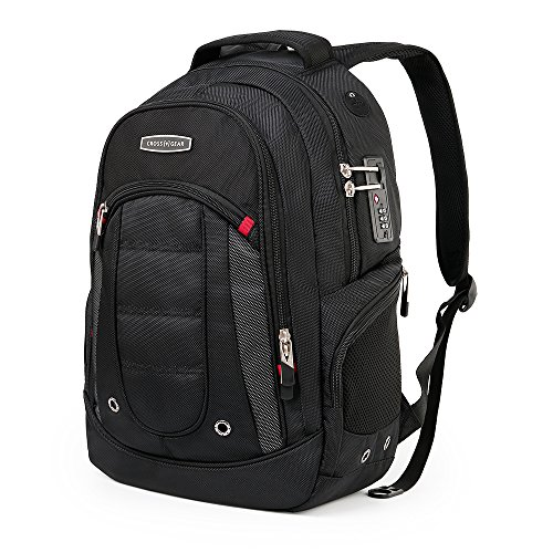 Cross Gear Laptop Backpack with Combination Lock- Fits Most 15.6 Inch Laptops and Tablets CR-9003BK