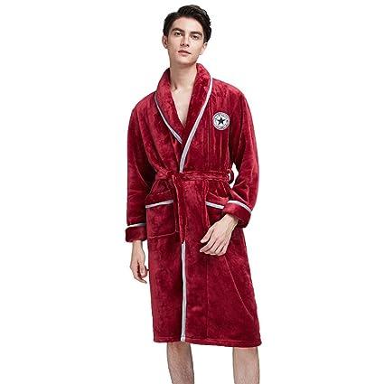 MERRYHE Hombre Terciopelo Coral Batas De Baño Pijamas Cálidos Y Cálidos Ropa De Dormir Waffle Chal