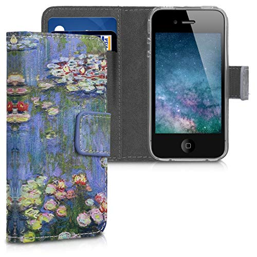 for Apple iPhone 4 / 4S - PU Leather Protective Flip Cover with Card Slots and Stand - Light Pink/Green/Blue ()
