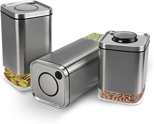Set of 3 Stainless Steel Kitchen Storage Canisters Tea Sugar Coffee Jar Lid Tin
