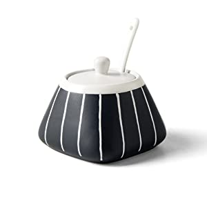 Vintage Japanese Style Black White Stripe Sugar Bowl Salt Spice Pot Pepper Storage Jar Seasoning Pot Container Condiment Box with Lid and Spoon for Home Kitchen, 13.5 Oz